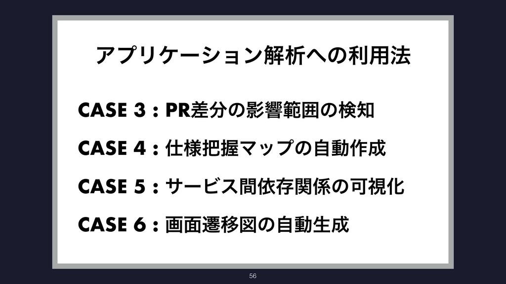 56 ΞϓϦέʔγϣϯղੳͷར༻๏ CASE 3 : PRࠩͷӨڹൣғͷݕ CASE 4...