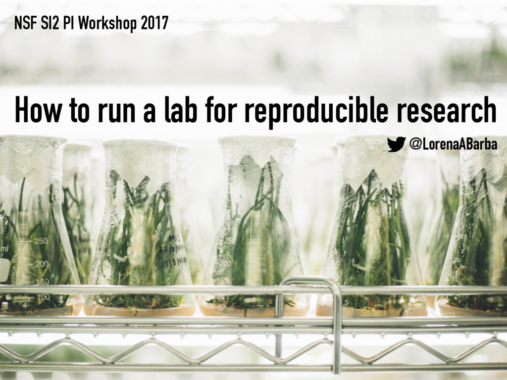 NSF SI2 PI Workshop 2017 How to run a lab for r...