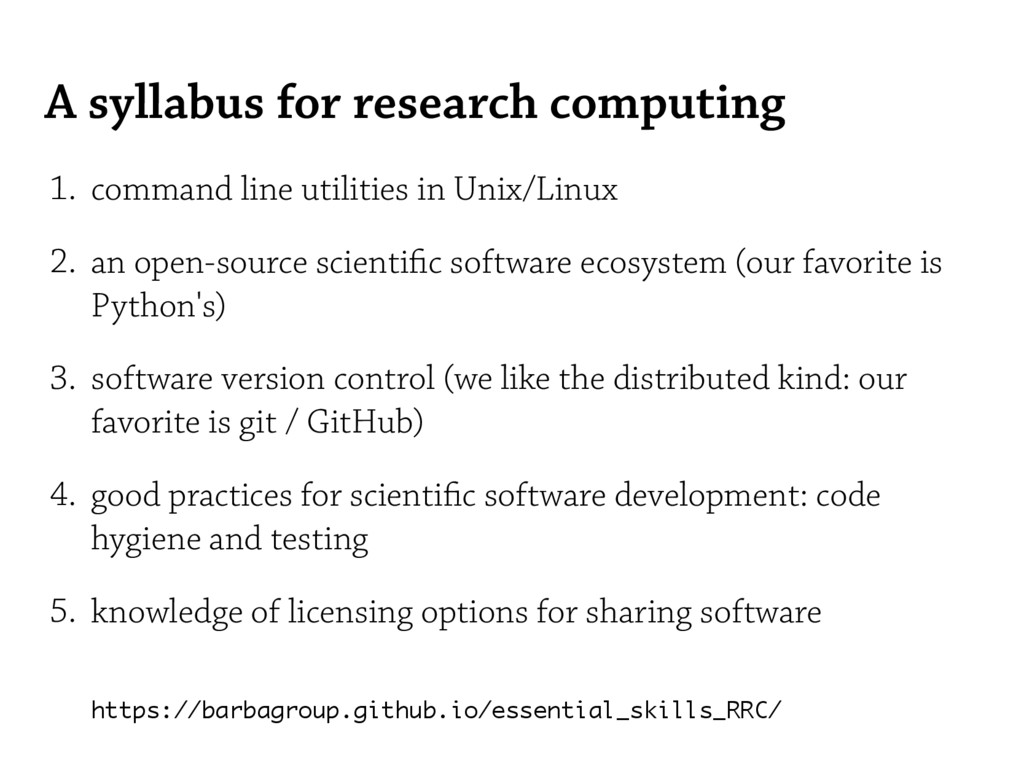 A syllabus for research computing 1. command li...