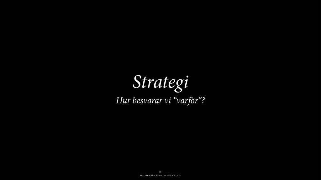BERGHS SCHOOL OF COMMUNICATION Strategi Hur be...