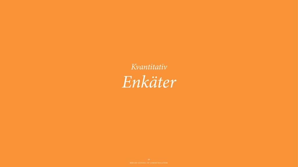 BERGHS SCHOOL OF COMMUNICATION Enkäter 59 Kvant...
