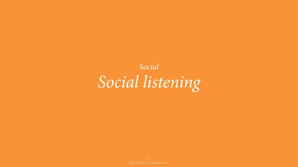 BERGHS SCHOOL OF COMMUNICATION Social listening...