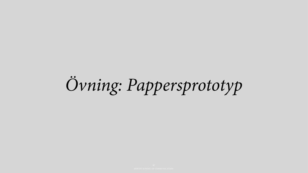 BERGHS SCHOOL OF COMMUNICATION Övning: Pappersp...