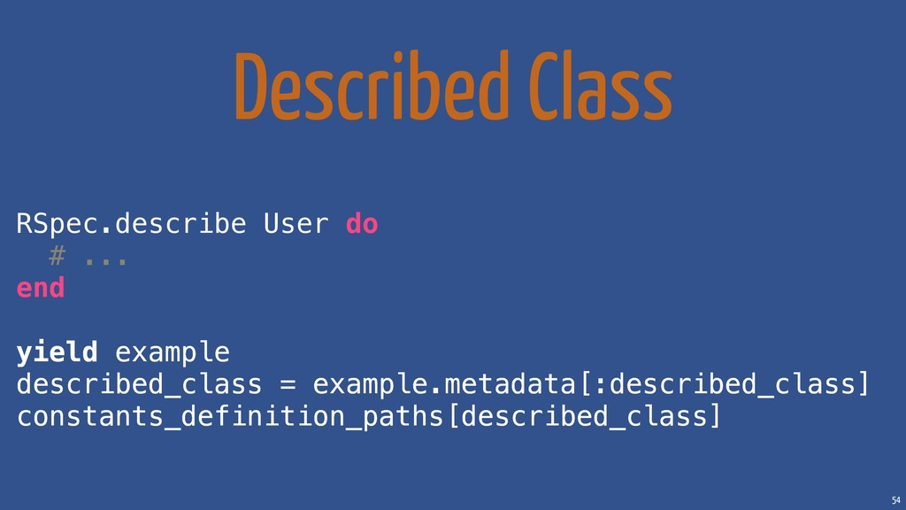 54 Described Class RSpec.describe User do # ......