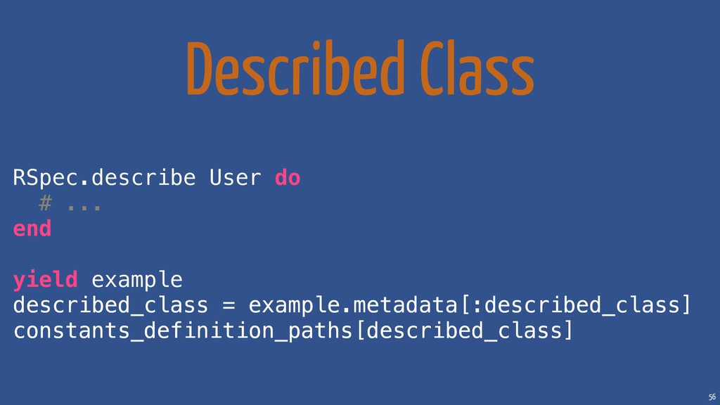 56 Described Class RSpec.describe User do # ......