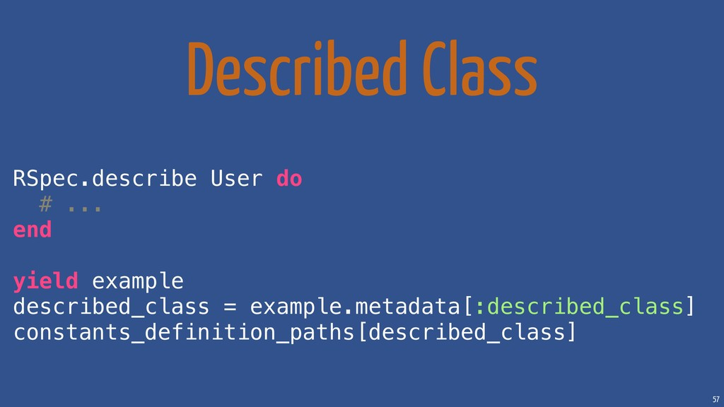 57 Described Class RSpec.describe User do # ......
