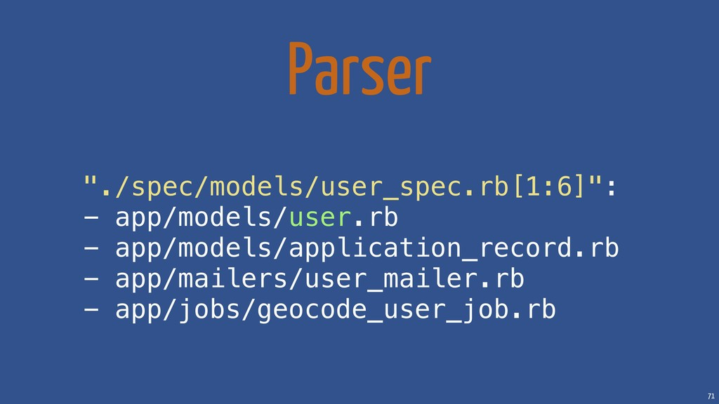 "71 Parser ""./spec/models/user_spec.rb[1:6]"": - ..."