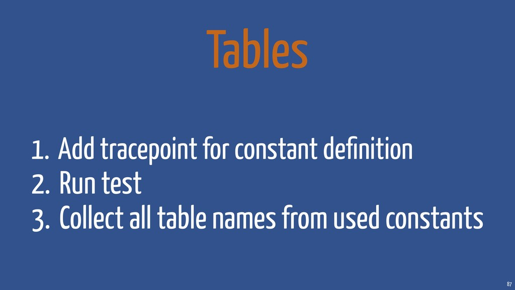 87 Tables 1. Add tracepoint for constant definit...
