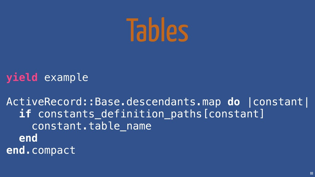 88 Tables yield example ActiveRecord::Base.desc...