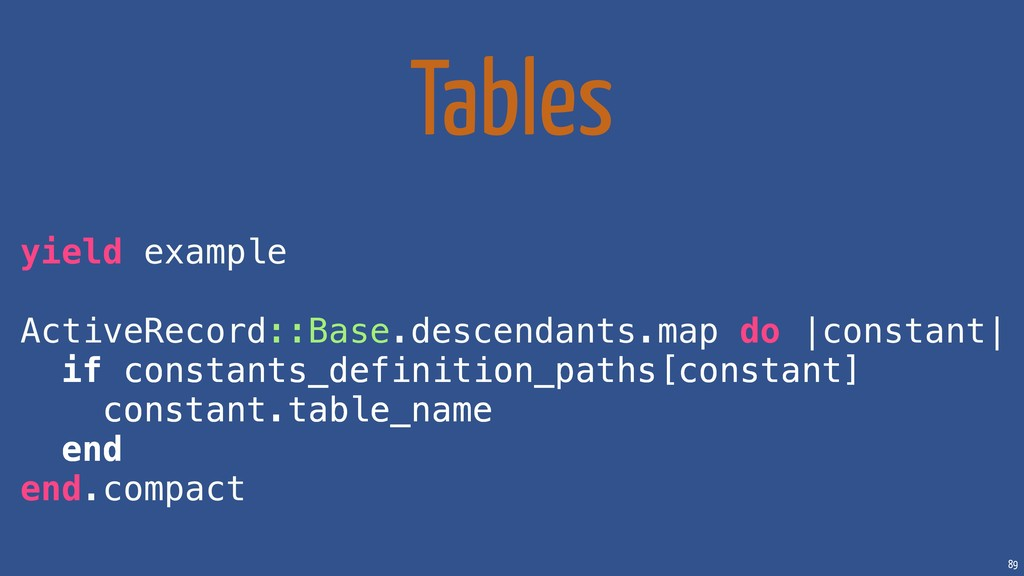 89 Tables yield example ActiveRecord::Base.desc...