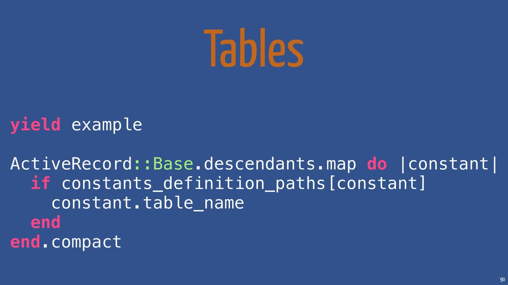 90 Tables yield example ActiveRecord::Base.desc...