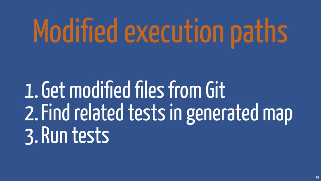 94 Modified execution paths 1.Get modified files f...