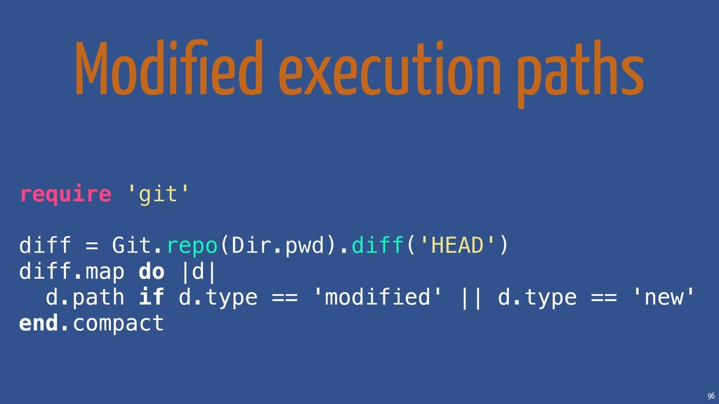 96 Modified execution paths require 'git' diff =...