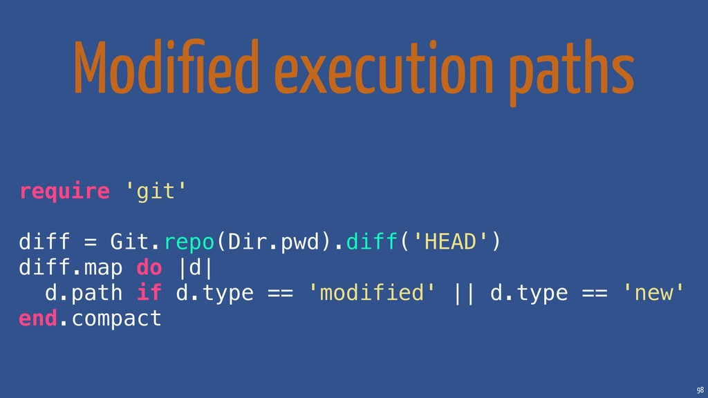 98 Modified execution paths require 'git' diff =...