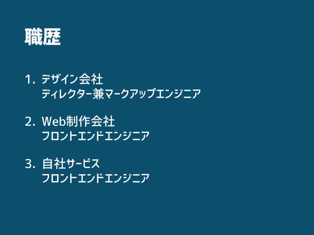 職歴 1. デザイン会社 ディレクター兼マークアップエンジニア 2. Web制作会社 フロ...
