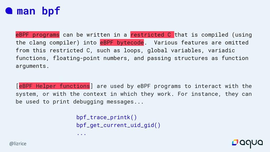 @lizrice man bpf eBPF programs can be written i...