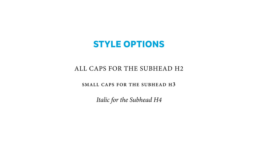 STYLE OPTIONS ! ! ALL CAPS FOR THE SUBHEAD H2...