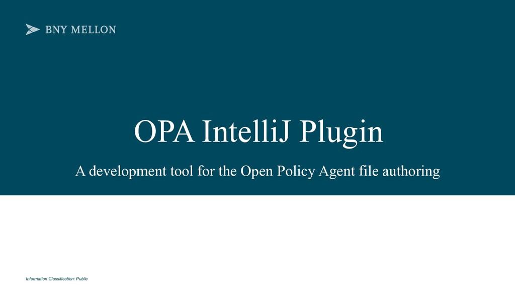 Information Classification: Public OPA IntelliJ...