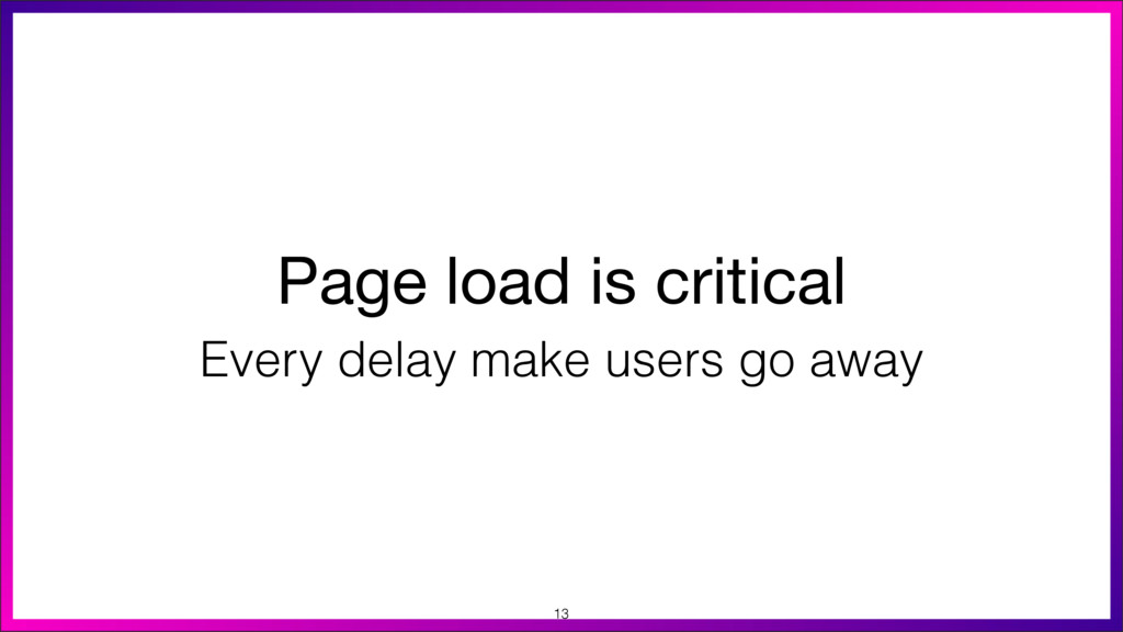 Page load is critical Every delay make users go...