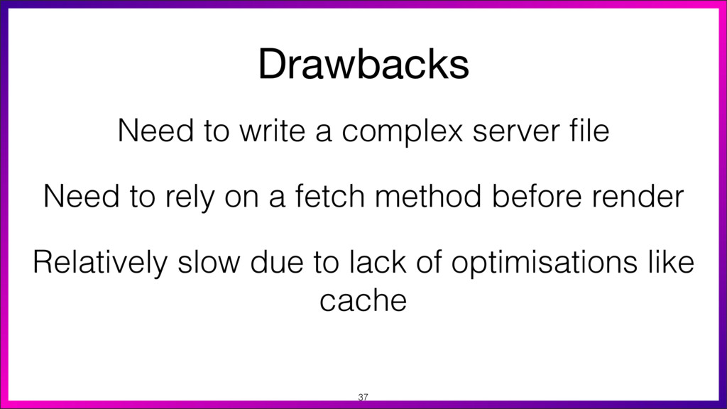 Drawbacks Need to write a complex server file Re...