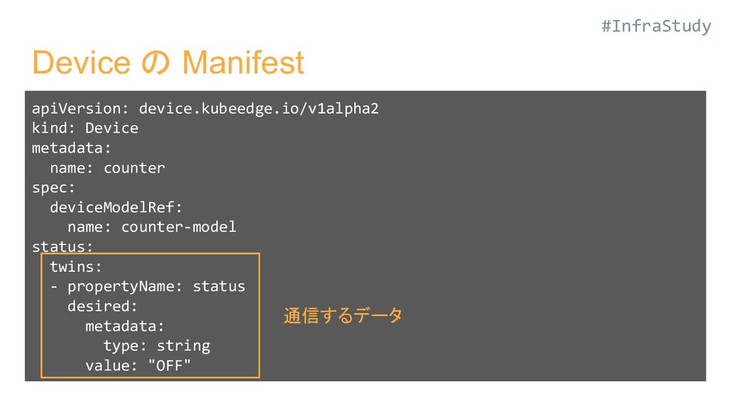 #InfraStudy Device の Manifest apiVersion: devic...