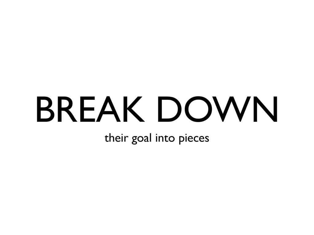 BREAK DOWN their goal into pieces