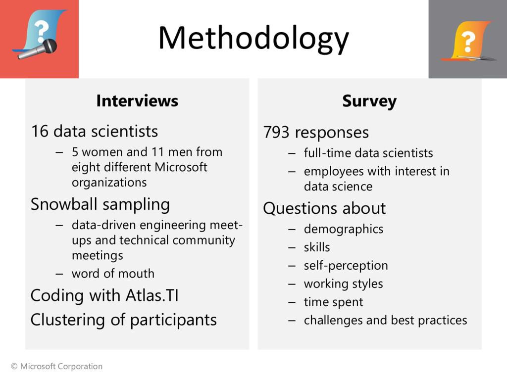 © Microsoft Corporation Methodology Interviews ...