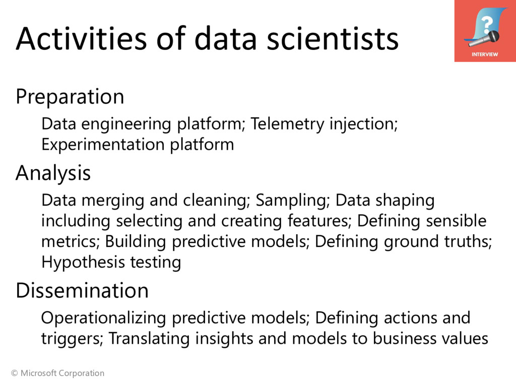 © Microsoft Corporation Activities of data scie...