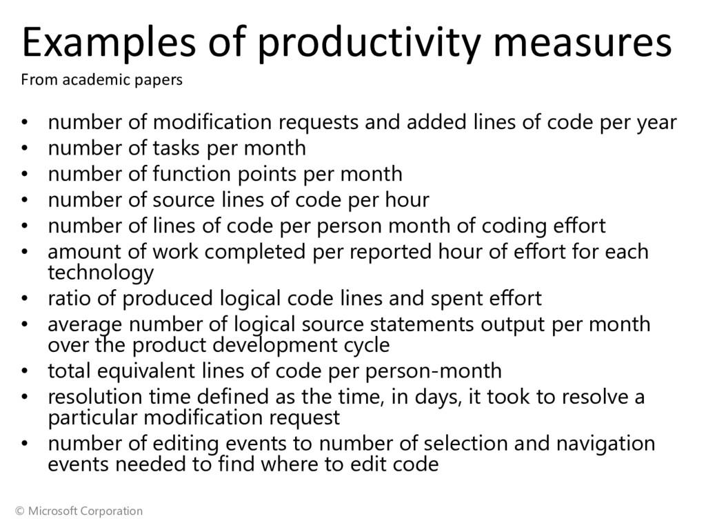 © Microsoft Corporation Examples of productivit...