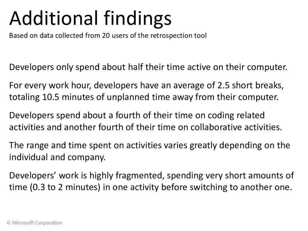 © Microsoft Corporation Additional findings Bas...