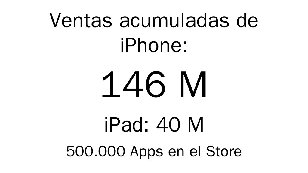 Ventas acumuladas de iPhone: 146 M iPad: 40 M 5...
