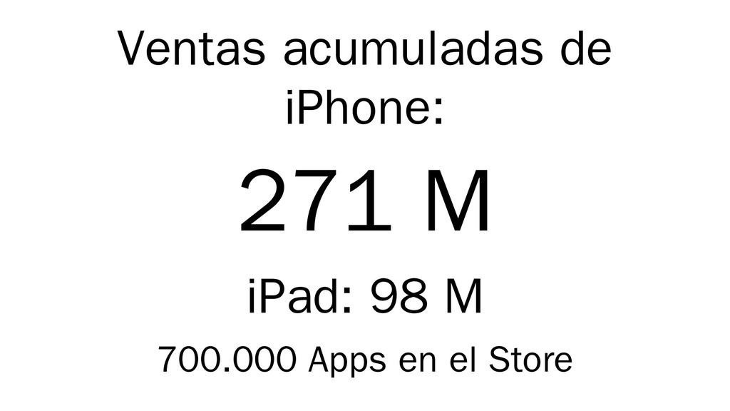 Ventas acumuladas de iPhone: 271 M iPad: 98 M 7...