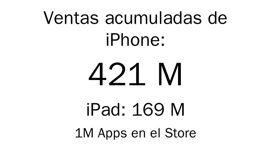 Ventas acumuladas de iPhone: 421 M iPad: 169 M ...