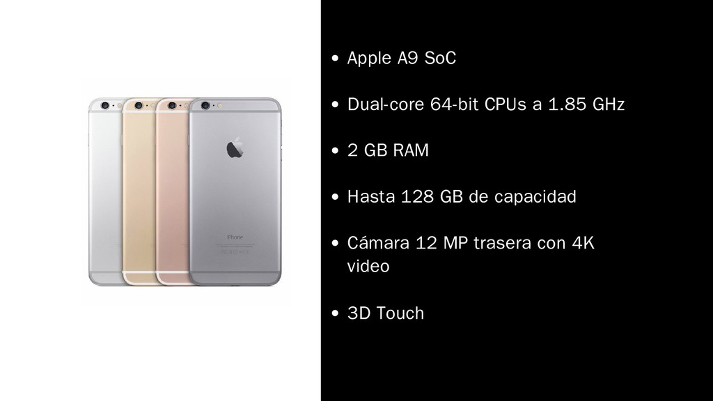Apple A9 SoC Dual-core 64-bit CPUs a 1.85 GHz 2...