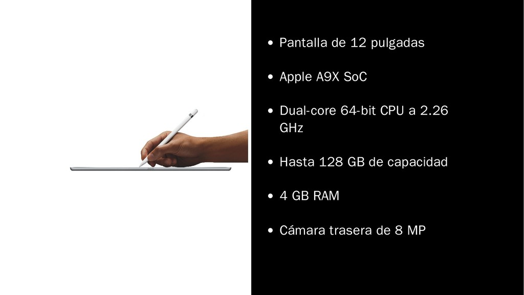 Pantalla de 12 pulgadas Apple A9X SoC Dual-core...