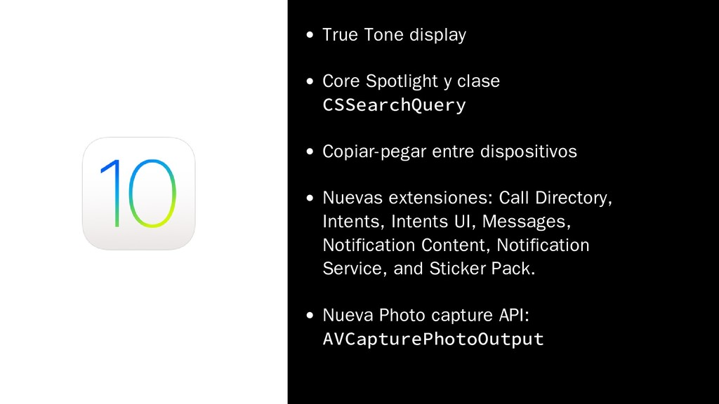 True Tone display Core Spotlight y clase CSSear...
