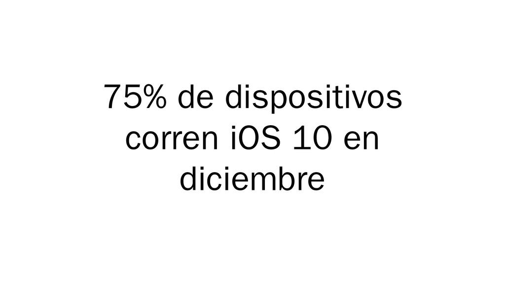 75% de dispositivos corren iOS 10 en diciembre