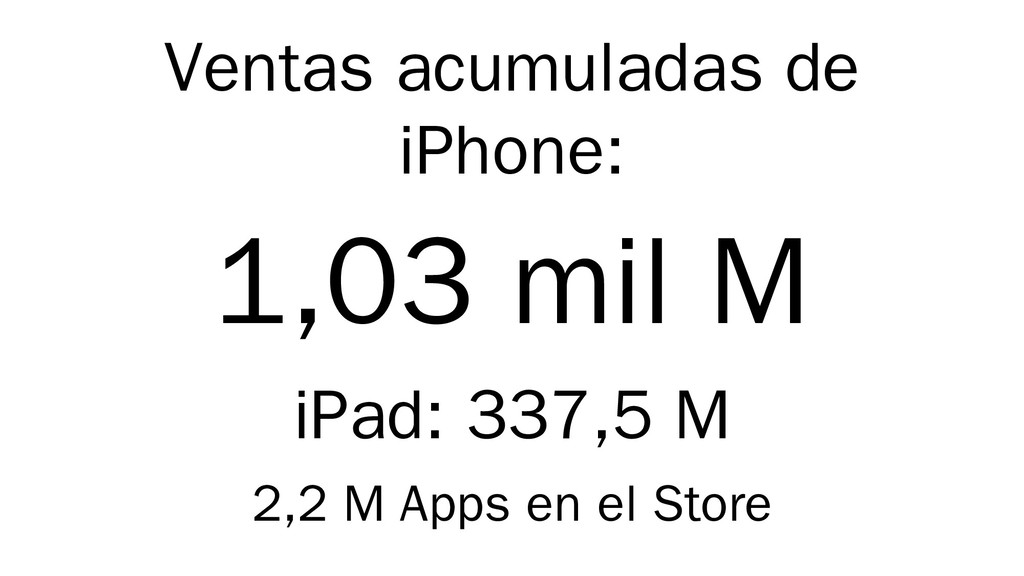 Ventas acumuladas de iPhone: 1,03 mil M iPad: 3...