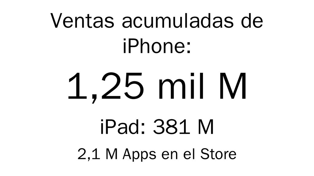 Ventas acumuladas de iPhone: 1,25 mil M iPad: 3...