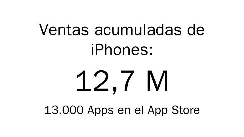 Ventas acumuladas de iPhones: 12,7 M 13.000 App...