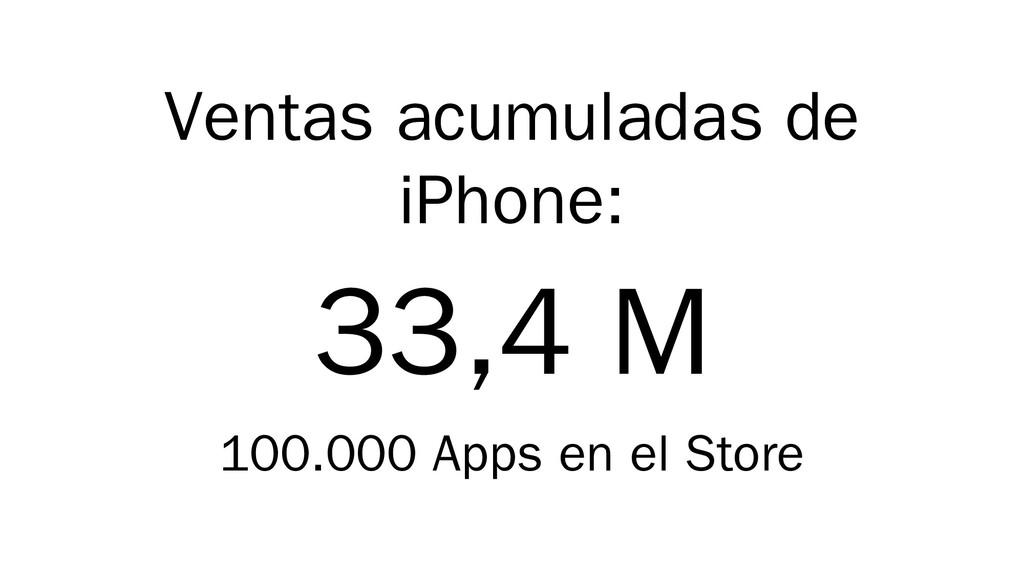 Ventas acumuladas de iPhone: 33,4 M 100.000 App...
