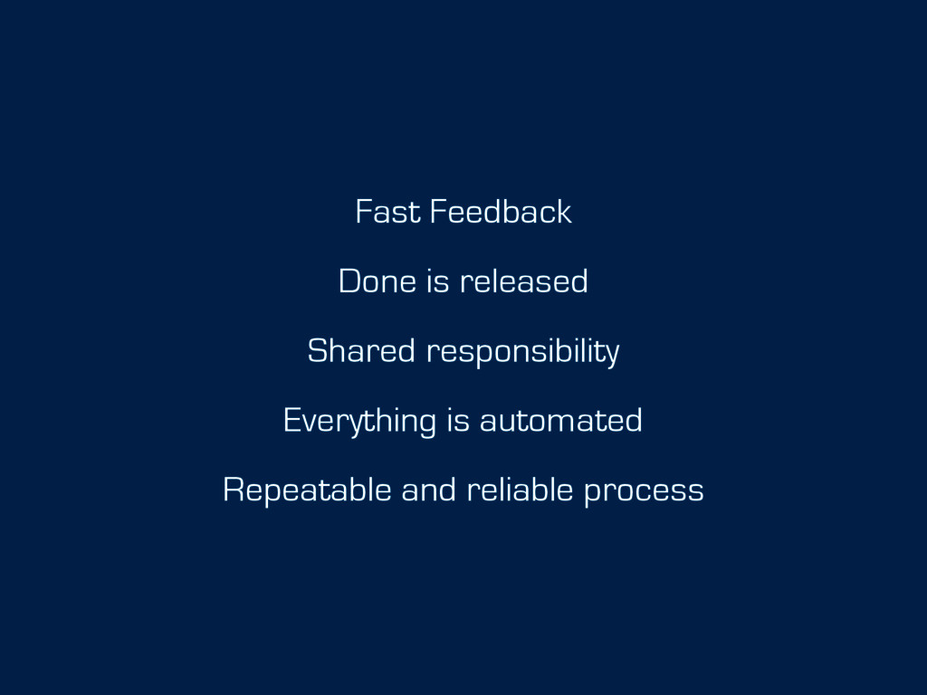 Fast Feedback Done is released Shared responsib...