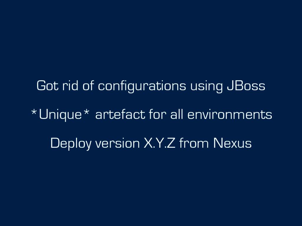 Got rid of configurations using JBoss *Unique* ...