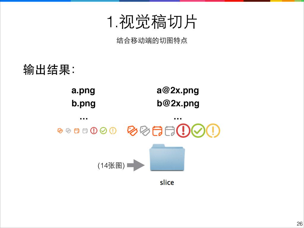 !26 1.视觉稿切⽚片 结合移动端的切图特点 输出结果: a.png b@2x.png b....