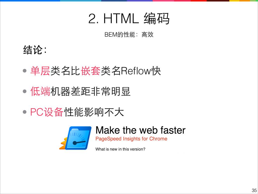 !35 2. HTML 编码 BEM的性能:⾼高效 • PC设备性能影响不⼤大 • 低端机器差...