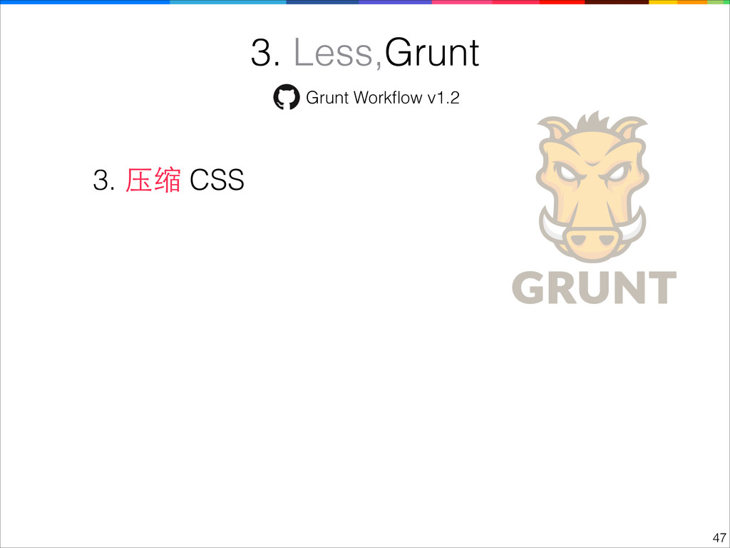 !47 3. Less,Grunt 3. 压缩 CSS Grunt Workflow v1.2