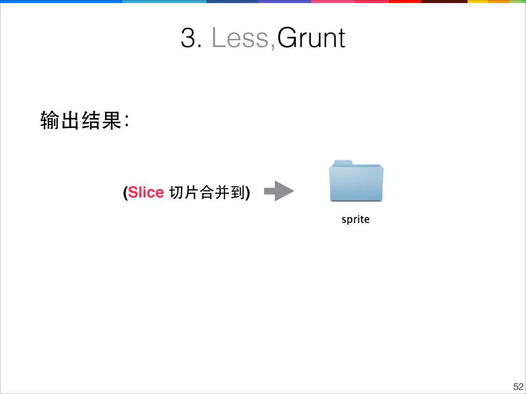 !52 3. Less,Grunt 输出结果: (Slice 切⽚片合并到)