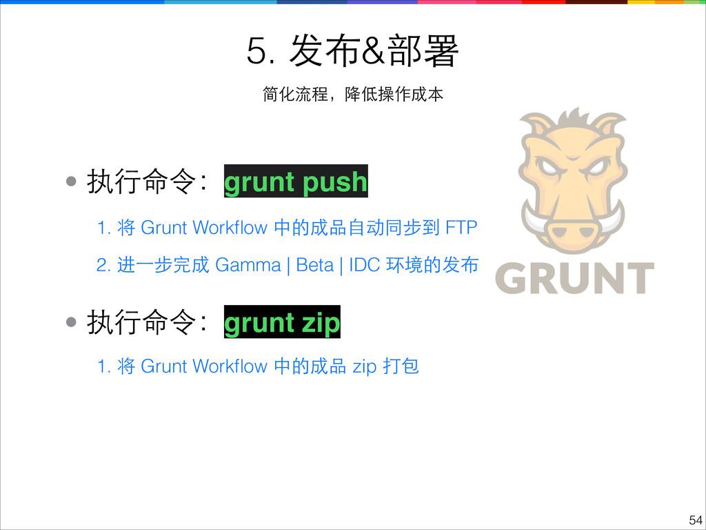 !54 5. 发布&部署 简化流程,降低操作成本 • 执⾏行命令:grunt push 1. ...
