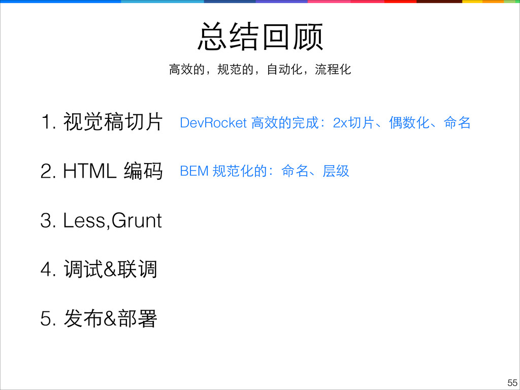 1. 视觉稿切⽚片 ! 2. HTML 编码 ! 3. Less,Grunt ! 4. 调试&...