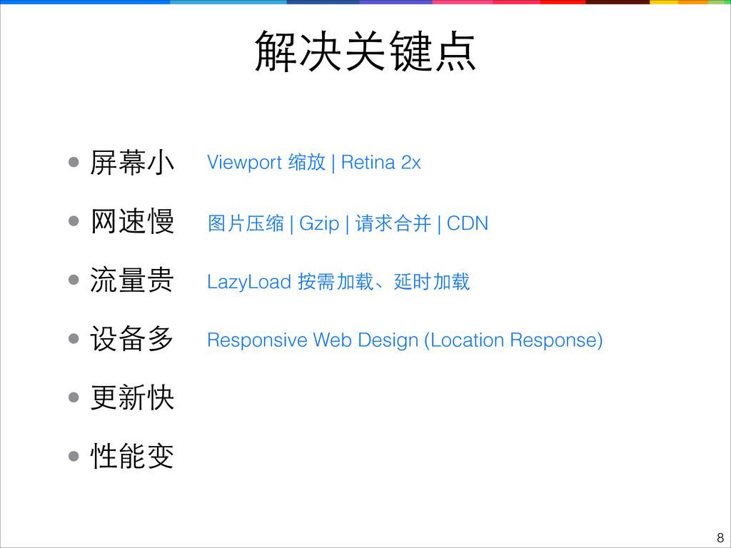!8 解决关键点 • 性能变 • 流量贵 • 设备多 • ⺴⽹网速慢 • 更新快 LazyLo...